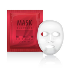Realistic facial sheet mask and red sachet blank vector