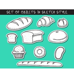 Set of 10 stickers doodle bread baking doodle vector