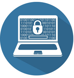 silhouette laptop security flat vector image vector image