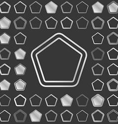 Silver metallic pentagon logo design set vector