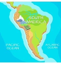 South america map with natural attractions vector