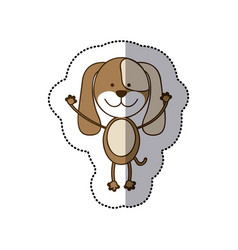 Sticker colorful picture cute dog animal vector