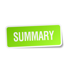 Summary green square sticker on white background vector