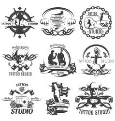 Tattoo studio black white emblems vector