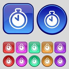 The stopwatch icon sign A set of twelve vintage vector image vector image
