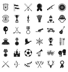 Trophy icons set simple style vector