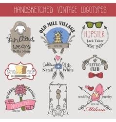 Vintage logotypes setDoodle hand sketched vector image