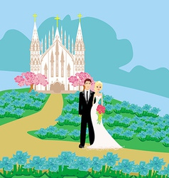 Wedding couple in front of a church vector