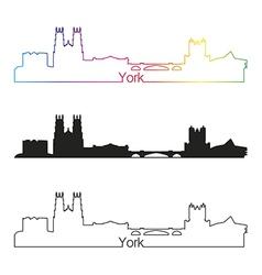 York skyline linear style with rainbow vector