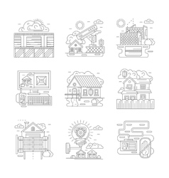 Security facilities detailed line icons set vector