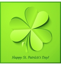 Green paper clover patricks day greeting card vector