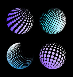 Set abstract halftone 3d spheres 3 vector