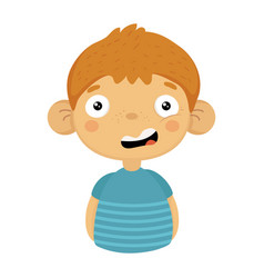 Doubtful smiling cute small boy with big ears in vector