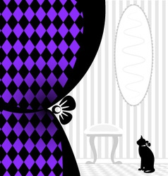 Background fantasy black cat vector