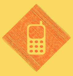 cell phone sign  red scribble icon vector image
