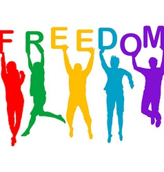 Freedom concept with people jumping silhouettes vector