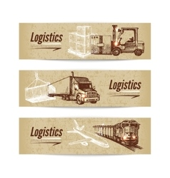 Sketch logistics and delivery banner set vector