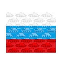 Flag of Russia with texture of tanks Russian vector image