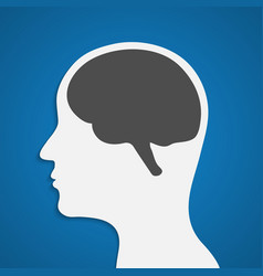 Silhouette of a human head with brain vector image