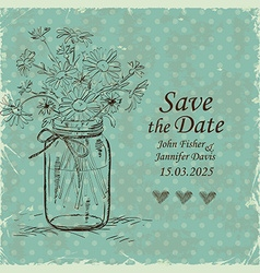 Wedding invitation with mason jar and camomile vector