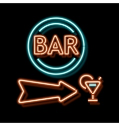 Vintage neon sign with an indication of the bar vector