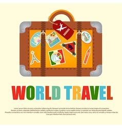 Suitcase with stickers travel around the world vector