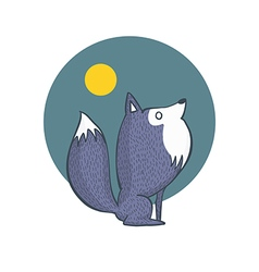 Gray wolf and full moon cartoon character vector