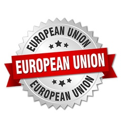 European union round silver badge with red ribbon vector