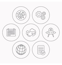 Ufo planet and global network icons vector