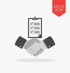 Handshake with checklist icon successful agreement vector