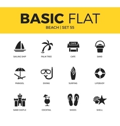 Basic set of beach icons vector