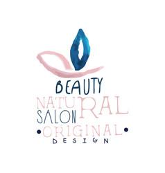 beauty natural salon logo original design label vector image vector image