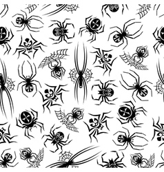 Black spiders seamless halloween background vector