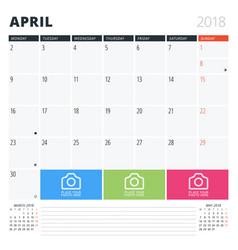 Calendar planner for april 2018 print design vector