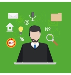 Call center or support with man flat style vector