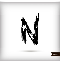 Calligraphic watercolor letter N vector image vector image