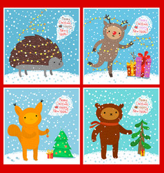 cute animals set greeting card vector image