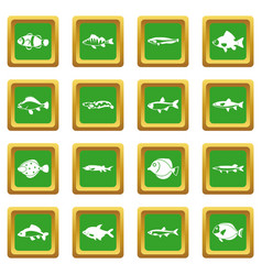 cute fish icons set green vector image