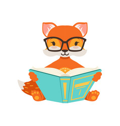 Cute orange fox character sitting and reading a vector