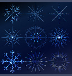decorative crystal snowflakes set - winter vector image