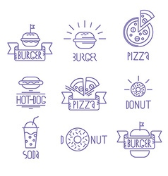 fast food design elements Linear style Outline vector image vector image