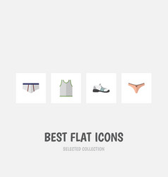 Flat icon dress set of sneakers lingerie vector
