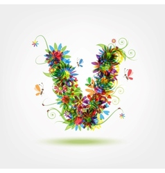 Floral letter for your design vector image