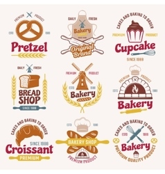 Flour Products Retro Style Emblems vector image