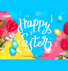 happy easter background with colorful eggs and red vector image vector image