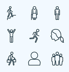Human outline icons set collection of team head vector