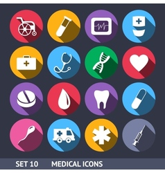Medical Icons With Long Shadow Set 10 vector image vector image