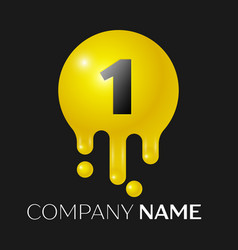 number one splash logo yellow dots and bubbles vector image vector image