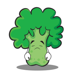 sad broccoli chracter cartoon style vector image vector image