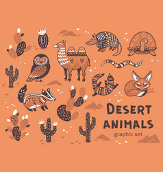 Set of desert animals vector